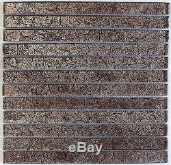 Metallic Silver Foil Glass Mosaic Tile 1X12, Bath Kitchen Backsplash Wall