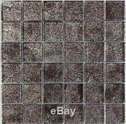 Metallic Silver Foil Glass Mosaic Tile 2X2, Bath Kitchen Backsplash Wall