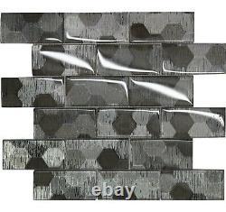 Metallic Silver Glass Brick Mosaic Tiles Walls Floors Bathrooms Kitchens