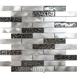 Metallic Silver Stainless Steel Aluminum Fused Glass Mosaic Tile Wall Backsplash