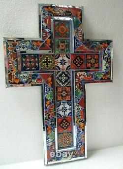 Mexican Art Talavera Tile and Mirror Glass Religious Wall Cross X Large 20