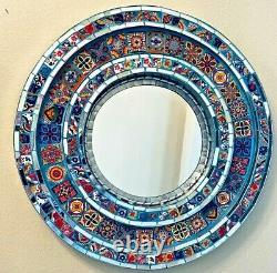Mexican Talavera & Glass Pottery Tile Wall Mirror Tin Puebla 26 Folk Art