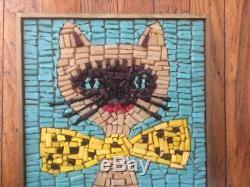 Mid century modern atomic glass tile mosaic cat wall hanging 10.5 x 20.5