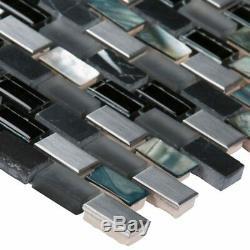 Midnight Pearl Glass Metal and Stone Mosaic Wall Tile MSI -1 Box=10 Sqft