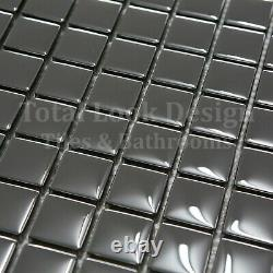 Mirror Gloss Silver Glass Mosaic Tiles Sheet For Walls Floors Bathrooms