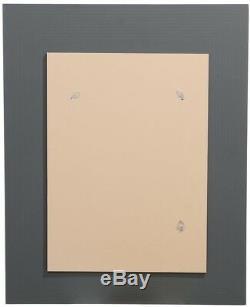 Mirror Rectangular Wall Glass Frame Reeded Dark Charcoal Off Whites Tiles