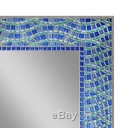 Mirror Single Blue Ocean Tile Border Frame Less Glass Wall Mount Vanity Bathroom