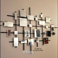 Mirrored Abstract Wall Art Decor Glass Tiles Metal Lattice Modern Home Sculpture