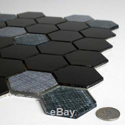 Miseno Enchanted Metals 2' x 2' Hexagon Wall Mosaic Tile Varied Glass Visual
