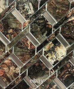 Miseno MT-WHSMSCSQU-AS Musico 2 x 3 Deco Wall Mosaic Tile - Brown