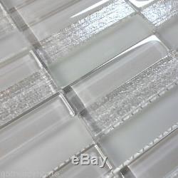 Modern Gray Crystal Glass Blend Texture Matted Glass Mosaic Tile Wall Backsplash
