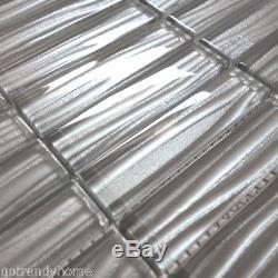 Modern Gray Metallic Wave Cold Spray Stacked Pattern Mosaic Tile Wall Backsplash