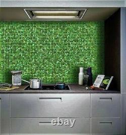 Mosaic Backsplash Kitchen Glass Tiles Wall Tile Green 13 x 13