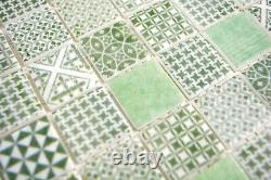 Mosaic Retro vintage tile ECO recycled GLASS green patchwork 145-P-60 f 10sheet