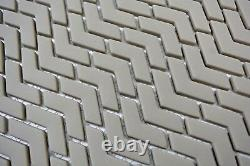 Mosaic Tile ECO Recycled GLASS Brick Enamel cream matt 140-HB33C f 10 sheet