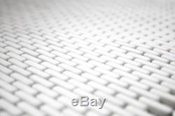 Mosaic Tile ECO Recycled GLASS Brick Enamel white matt wall 140-B27W f 10 sheet
