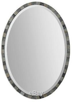 Mosaic Tile Wall Mirror Gray 29H Oval Antiqued Glass Frame Beveled Designer New
