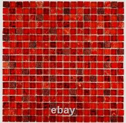 Mosaic Tiles Translucent Red Glass Crystal Resin Bathroom Toilet Kitchen Wall