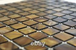 Mosaic nacre shell tile Square mix brown beige kitchen 150-SM2569 f 10 sheet