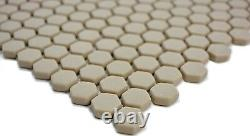 Mosaic tile ECO recycling GLASS Hexagon cream matt glass 140-HX13C f 10 sheet