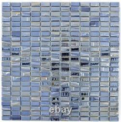 Mosaic tile ECO recycling GLASS rectangle black metallic 3D 355-09 f 10 sheet