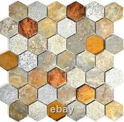 Mosaic tile Hexagon marble gray rust brownbeige with Backsplash 11c-197910sheet
