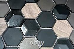 Mosaic tile Hexagon natural stone beige grey sand with glass 11D-22 10 sheet