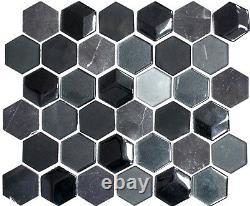 Mosaic tile Hexagon natural stone black grey with glass Art 11D-33 10 sheet