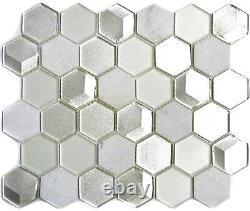 Mosaic tile Hexagon natural stone mix white with glass Art 11D-HXN11 10sheet