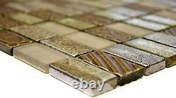 Mosaic tile Rectangle natural stone mix retro golden with glass 83-CRS410sheet