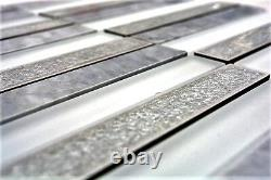 Mosaic tile Rectangle natural stone mix white/grey with glass 40-ICE150 10sheet