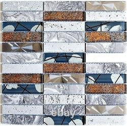 Mosaic tile Rectangle natural stone steel mix grey with glass 87-24X 10sheet
