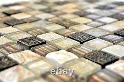 Mosaic tile Square natural stone mix golden/brown with glass 83-CR17 10 sheet