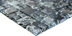 Mosaic tile Square natural stone mix grey/black/white with glass 92-HQ1410sheet