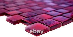 Mosaic tile Square pink mix clear/frosted with glass Art 78-CF87 10 sheet