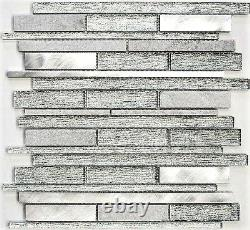 Mosaic tile natural stone Alu mix white/silver with glass Art 49-GV6410sheet