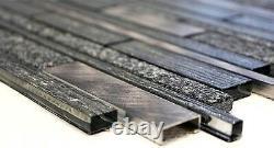 Mosaic tile natural stone Aluminium mix black with glass Art 49-GV84 10sheet