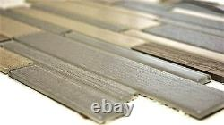 Mosaic tile natural stone mix beige/grey with glass Art 67-GV24 10 sheet