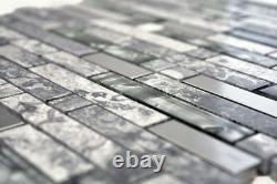 Mosaic tile natural stone steel mix grey with glass Art 87-MV778 10 sheet