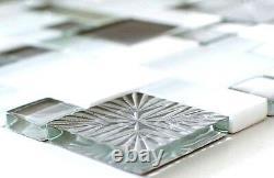 Mosaic tile natural stone white matt surface/grey with glass 88-MC65910 sheet
