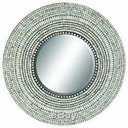 Mother of Pearl Tile Inlay Round Wall Mirror Mosaic Shell Beveled Glass 32 Dia