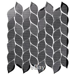 Musico Soleil Brown Leaf Deco Mosaic 1 In. X 3 In. Glass Wall Tile 10.8 Sq. Ft