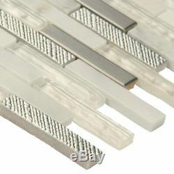 Ocean Crest Brick Glass Metal Stone Mosaic Wall Tile MSI- 1 Box=9.8 Sqft