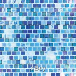 Opaque Blue Rainbow Glass Mosaic Tile Floor Backsplash Shower Accent Wall