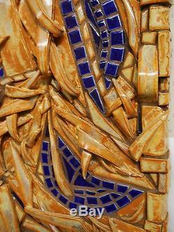 Original ABSTRACT MOSAIC WALL ART Handmade Ceramic Tile Earth Tones 32 X12