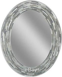 Oval Mirror Wall Mount Tile Charcoal 23 x 29 in Bathroom Vanity Decor Gray Black