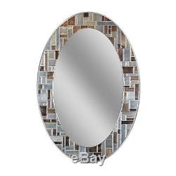 Oval Tile Hanging Wall Mirror Bath Room 21x31in Mosaic Glass Living Dining Decor