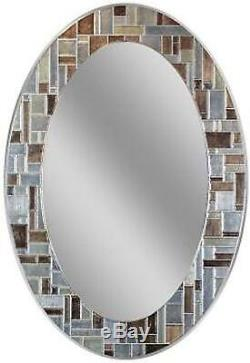 Oval Vanity Mirror Wall Mount Mosaic Glass Tile 21x31 Makeup Bathroom Entryway