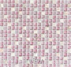 PINK Mix clear&frosted Mosaic tile GLASS/STONE WALL Bath&Kitchen 92-100210sheet