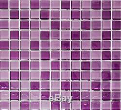 PURPLE MIX CLEAR 3D Mosaic tile GLASS Square WALL Bath&Kitchen 72-1104 10 sheet